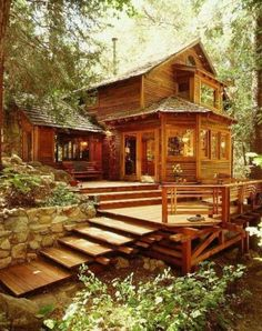 Little log home in the woods