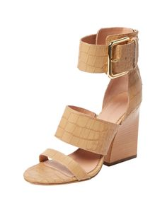 Poker Embossed Leather Sandal from Summer Trend: Block-Heel Sandals on Gilt