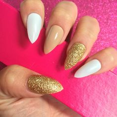 white oval nails with gold tips - Google Search