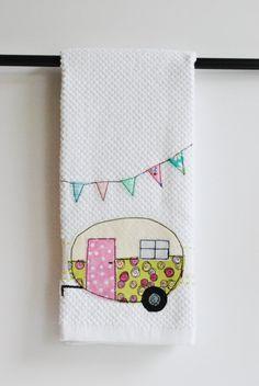 Vintage Camper Trailer Dish Towel