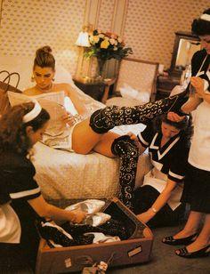 Carré Otis photographed Michael Roberts, Vogue Italia September 1991