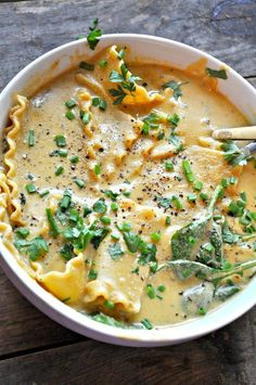 Vegan white lasagna soup is rich, super creamy and so cheesy. A one pot soup wit… Vegan white lasagna soup is rich, super creamy and so cheesy. A one pot soup with lasagna noodles and Italian seasoning. It tastes just like white lasagna! Whole Food Recipes, Soup Recipes, Cooking Recipes, Healthy Recipes, Lasagna Recipes, Cooking Steak, Cooking Salmon, Cooking Games, Vegan Tofu Recipes