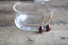 Teardrop pearl earrings dark purple earrings small by SharonTasker
