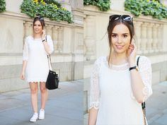 White / Lace / Dress / H&M / CONVERSE / Style / Casual / Spring / Summer / Hello October