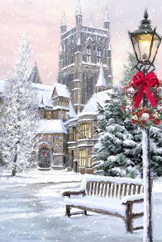 beautiful christmas images - New Year Christmas Scenery, Noel Christmas, Victorian Christmas, Vintage Christmas Cards, Christmas Pictures, Winter Christmas, Xmas, Christmas Mantles, Vintage Ornaments