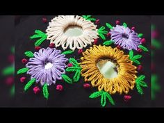 Hand embroidery sisha / mirror work | Lazy Daisy mirror work created by Keya's craze | 111 - YouTube