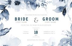 Get inspired by 120 professionally designed Floral Wedding Invitations templates. Customize your Wedding Invitations with dozens of themes, colors, and styles to make an impression. Wedding Ceremony Programs, Wedding Menu Cards, Wedding Timeline, Reception, Engagement Party Invitations, Custom Wedding Invitations, Wedding Invitation Templates, Wedding Stationery, Invites