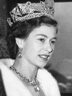 """Queen Elizabeth II through time,"" Princess Elizabeth pictured at her coronation in 1953, to become Queen Elizabeth II"