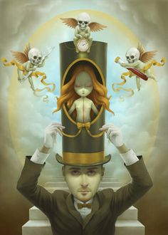 Paolo Pedroni is a promising young artist coming from the Italian Pop Surrealism scene. I really admire the soft and delicate touch of his style, which explores the bittersweet side of his imaginary. Arte Lowbrow, Arte Pop, Digital Painter, Digital Paintings, Digital Art, Magritte, Weird Art, Strange Art, Surreal Art