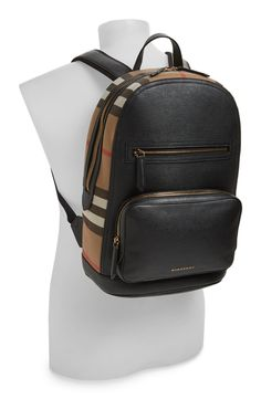 'Marden' Check & Embossed Leather Backpack