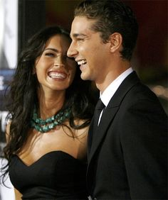 Megan Fox & Shia LeBeuf  (she's actually very pretty when she drops the practiced vixen pout and smiles like that!)