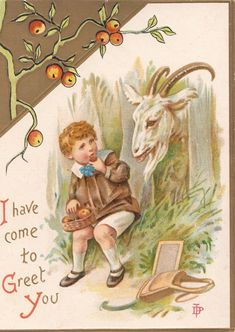 """""""I have come to greet you."""" Festive Victorian Christmas card."""