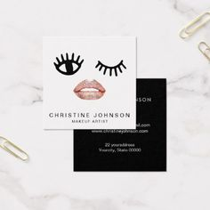 cartoon glam face makeup artist square business card - makeup artist gifts style stylish unique custom stylist