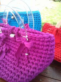 imitation prada bag - Borse in fettuccia di licra,Ral��   Crochet trapillo   Pinterest