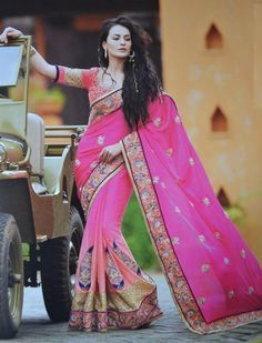 Shades of Pink Color Wrinkle Chiffon One-Minute Designer Sarees : Gehana Collection YF-21612