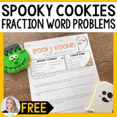 Halloween Fraction and Proportions Word Problems by Lindsay Perro Fraction Word Problems, Halloween Math, First Page, Fractions, Math Activities, Worksheets, Teacher, Classroom, Student