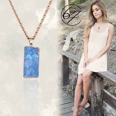 STUN THE CROWD with the Luxurious Classic Druzy blue necklace - Natural Druzy Quartz Agate Geode Necklace with Gold chain - Colour: Blue - 14K Gold Plated Chain - Available colours: Blue, Pink, Green