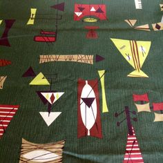 Forest Green Tiki Mambo Barkcloth by Chris Stone by LittleLov on Etsy