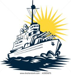 illustration of a battleship with big guns #battleship #woodcut #illustration