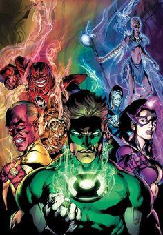 Yellow Lantern Sinestro, Red Lantern Atrocitus, Orange Lantern Larfleeze, Green Lantern Hal Jordan, Blue Lantern Saint Walker, Indigo (Iroque) & Star Sapphire (Carol Ferris) (Blackest Night vol.1 #6) Art by Ivan Reis