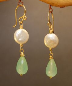 Cosmopolitan 27 Coin pearl with sea blue by CalicoJunoJewelry, $36.00