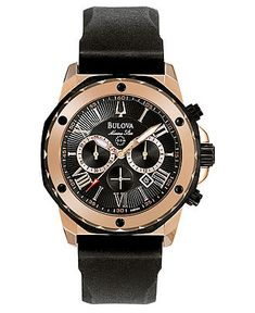 Bulova Watch, Men's Chronograph Black Rubber Strap 44mm 98B104 - All Watches - Jewelry & Watches - Macy's