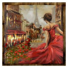 Get whisked away in the city of lights and love with our Pursuit of Romance Canvas Art! Featuring dramatic pops of red, this bold painting captures all the pas… Paris Painting, Oil Painting On Canvas, Canvas Art Prints, Painting & Drawing, Canvas Wall Art, Street Painting, Acrylic Canvas, Paris Canvas, Paris Wall Art