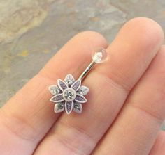 Smokey Amethyst and White Flower Belly Button by MidnightsMojo, $13.00