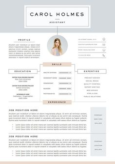 4 página plantilla de curriculum vitae y por TheResumeBoutique