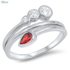 Pear Cut Deep Red Garnet Round Russian Ice Diamond CZ 925 Sterling Silver Fashion Ladies Ring Pear Cut Stone Ring Fasion Jewelry Gift