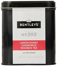 Bentley's Harmony Collection Tin, Lemon Honey Chamomile Rooibos, 50 Count: A soothing blend of calming chamomile flowers, and the sweet essences of lemon and honey blended with our south African grown rooibos tea. Boston Tea, Ginger Peach, Coffee Store, Tea Companies, Blood Orange, Drinking Tea, Tea Party, Herbalism, Tin