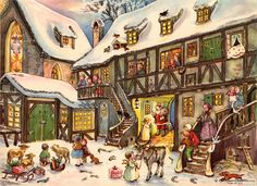 The Holiday Aisle Sellmer Santa in Village Advent Calendar German Christmas, Christmas And New Year, Vintage Christmas, Christmas Messages, Christmas Greetings, Christmas Cards, Advent Calander, Diy Advent Calendar, German Advent Calendar