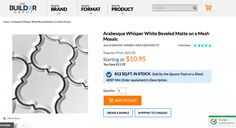 Beveled Whisper White Arabesque an incredible product now mesh backed to speed up installation and reduce install costs. Arabesque Tile, Whisper, Bathrooms, Tiles, Mosaic, Mesh, The Incredibles, Exterior, Floor