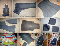 Jeans into apron... http://diycozyhome.com/old-jeans-up-cycled-into-an-apron/