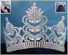 SCHEHERAZADE silver rhinestone contoured silver crown tiara