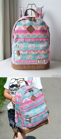 Fashion Pink Snowflake Geometry Totem Rucksack Travel Backpack Schoolbag for big sale! #travel #pink #snowflake #school #college #Bag #Backpack #rucksack #fashion #cute #fashion