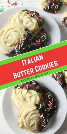 Italian Butter Cookies are just like what you would find in Italian bakeries! Dipped in chocolate and sprinkles, they're a spectacular treat. | The Bitter Side of Sweet
