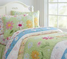 Daisy Garden Quilt, Twin, Green