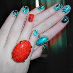 Coral and turquoise stone nails by Alayna Josz.