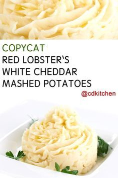 If you are looking for a great mashed potato recipe, this copycat from Red Lobster is not only easy to make, but everyone always loves it. Basic mashed potatoes are given an extra creamy texture with the addition of both heavy cream and sour cream. White Cheddar cheese is used instead of regular cheddar which gives it a more mild cheese flavor.   CDKitchen.com