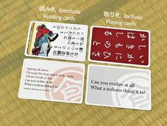 This is how the English Hyakuninisshu cards (English translated karuta) by Ogoola Karuta looks like. The original cards from Shogundo are printed on the backside so you can play it in English or Japanese.