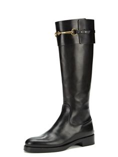 Horsebit Buckle Leather Riding Boot by Gucci at Gilt