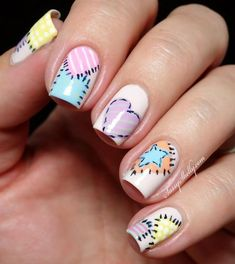 patchwork quilt inspired nail art by Sassy Shelly nail designs coffinfrench tip nail designs for short nails holiday nail stickers nail art sticker stencils best nail polish strips 2019 Creative Nail Designs, Creative Nails, Nail Art Designs, Love Nails, Pretty Nails, Fun Nails, Gel Nail Art, Nail Polish, Pastel Nails