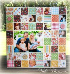 Family Canvas by Vicki Chrisman using Hopscotch for Fancy Pants Designs Quilt Baby, Colchas Quilt, Baby Clothes Quilt, Quilting Projects, Quilting Designs, Sewing Projects, Foto Memory, Patch Bordado, Cuadros Diy