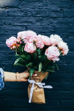Sweet as can be. Pink peonies bouquet.