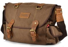$56.99 Brown Canvas & Leather Messenger Bag
