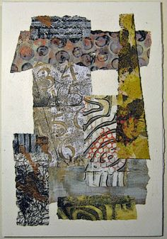 """""""A couple more paper collages from last week.   I'm also including Gelli printed papers among my stash, some of which I've been overprinting with additional techniques."""" constance rose : mixed media and textiles: Paper Collage 2"""