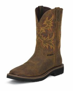 Justin Women's Rugged Tan Cowhide Steel Toe Work Boots//for working and welding Rugged Men, Steel Toe Work Boots, Square Toe Boots, Comfortable Boots, Justin Boots, Stitching Leather, Fall Fashion Trends, Fashion Ideas, Leather Cover