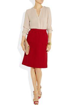 Miu Miu|Wool-cady skirt|NET-A-PORTER.COM