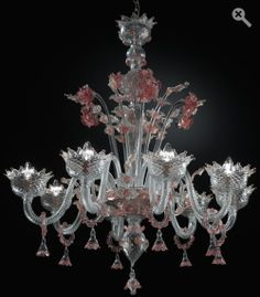 "Calle del Perdon Clear with pink and gold H 41,3"" Diam. 35,4"" - 8 Lights  $12.900,00"